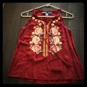 Lovely red blouse with rose design